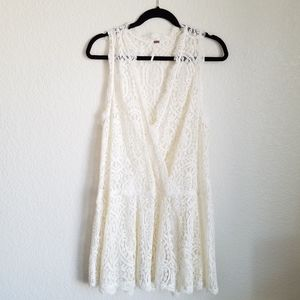 Free People Lace Mini Dress Sheer Cream Drop Waist